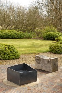 Basalt fire pit contemporary modern geometric metal firepit see gallery