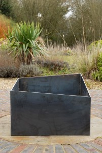 Basalt fire pit from side Basalt fire pit contemporary modern metal geometric square firepit see gallery