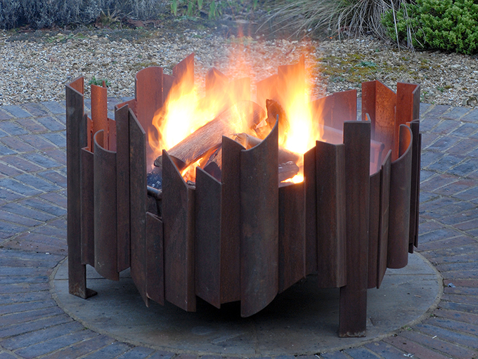 magma fire pit with fire MAGMA fire pit, each Magma artisan contemporary firepit ordered is unique, bespoke sizes available see gallery