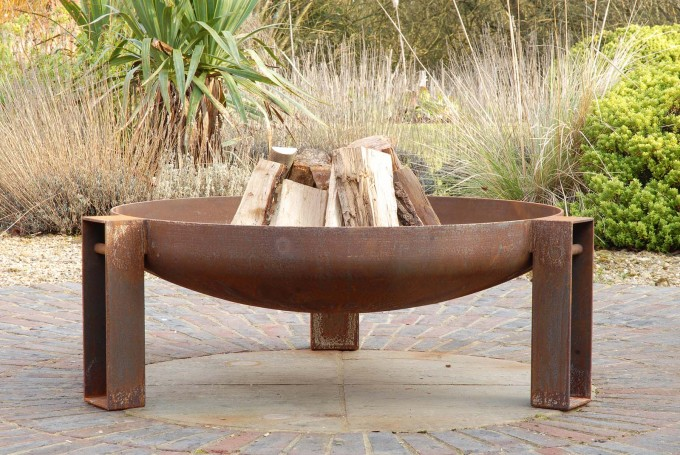 Vulcan fire pit with logs Vulcan fire pit contemporary artisan firepit made in the uk see gallery firebowl