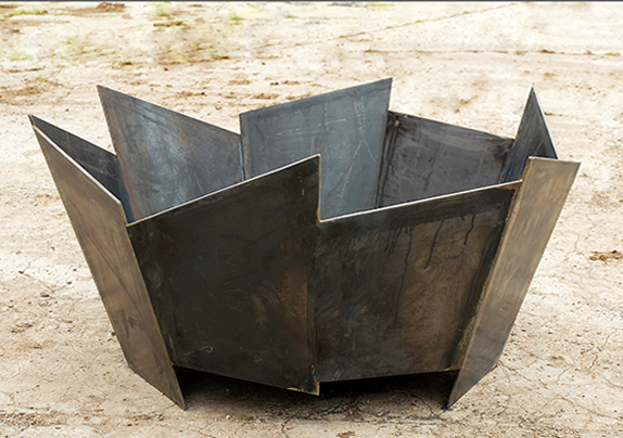 Crackle fire pit in 5mm steel handmade in the UK modern contemporary steel unusual sculptural see gallery