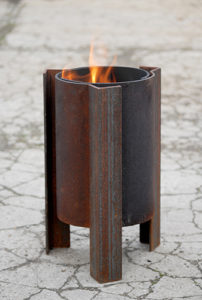 Tufa fire pit front view modern contemporary steel unusual sculptural see gallery