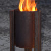 Tufa fire pit with swirling flames modern contemporary steel unusual sculptural see gallery